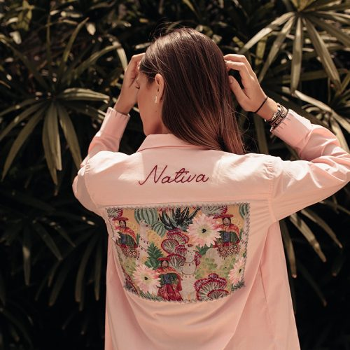 2-EMBROIDERY NATIVA PINK- WHITE SHIRT