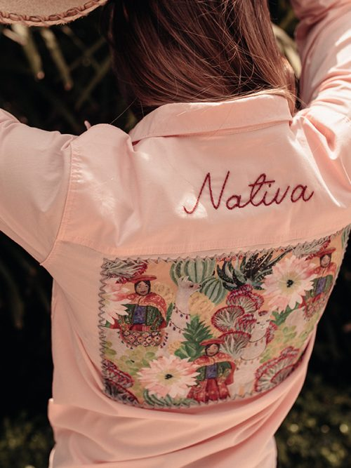 2-EMBROIDERY NATIVA- WHITE- PINK SHIRT