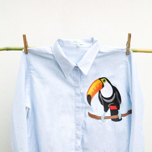 11-Embroidery Toucan- Blue Shirt or White Shirt.