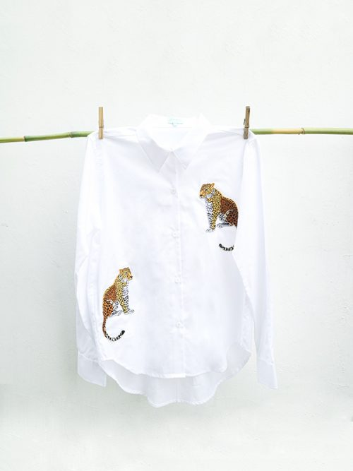 12-Embroidery Leopard- White Shirt copy