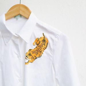 16-Shoulder tiger- White Shirt. copy