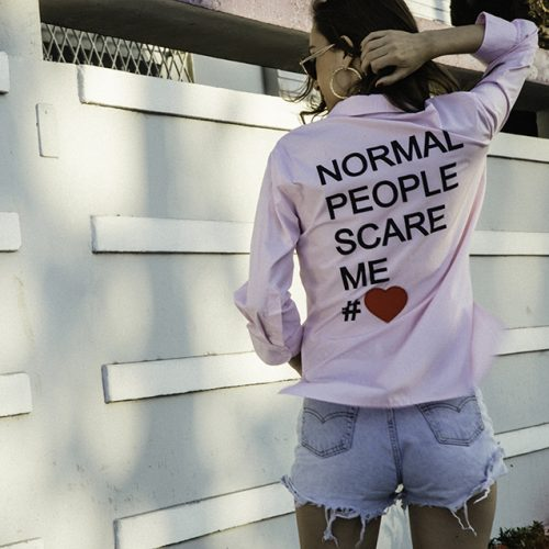 49-normal people scare me – white, blue or pink shirt copy