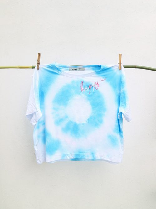 14-EMBROIDEY HAPPY- TIE DYE-CROPTOP