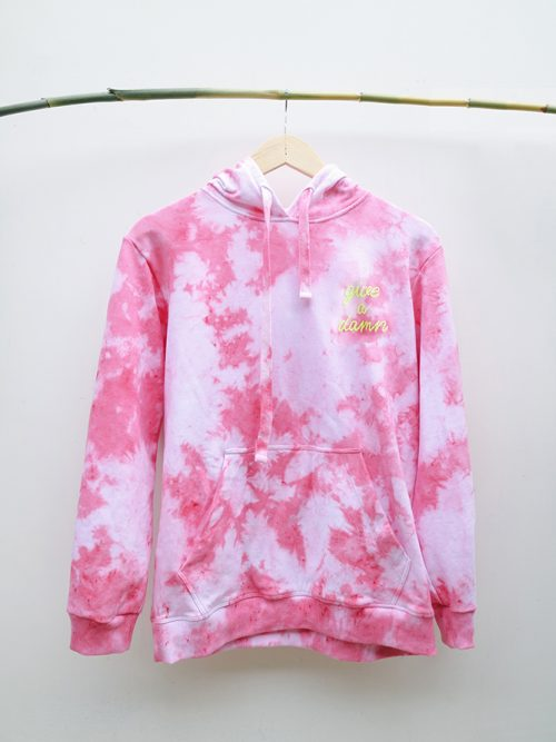 4)HOODIE- PINK TIE DYE-WHITE- GIVE A DAWN-SIZE (S:M) (L:XL) �65