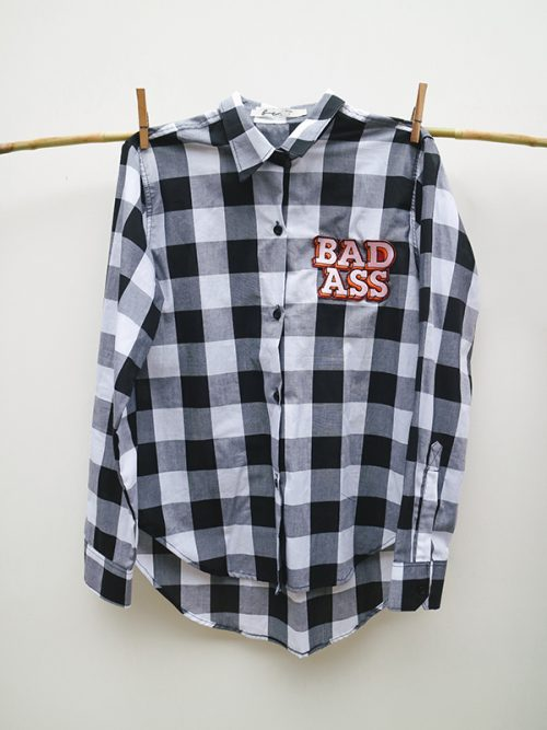1) BAD ASS- EMBROIDERY- BLACK GINGHAM – WS