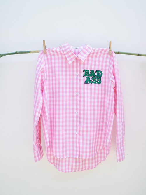 2) BAD ASS- EMBROIDERY- PINK GINGHAM – WS .