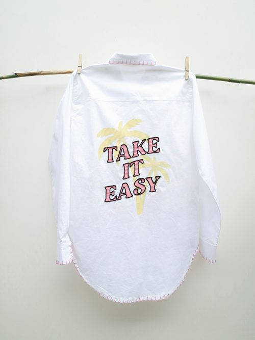 4)TAKE IT EASY- EMBROIDERY.- TUNIC WHITE SHIRT �65j-