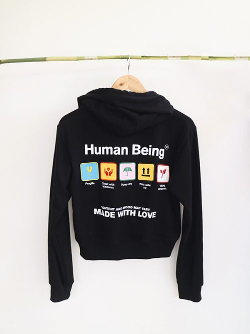 2)HUMAN BEING- CROPPED HOODIE- OVERSIZED HOODIE- BLACK- WHITE- GRAY-�60