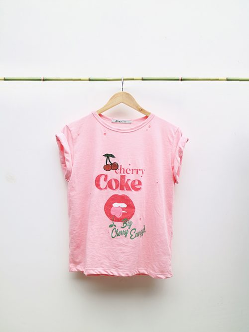 9) CHERRY COKE- OFF WHITE- PINK- RELAXED FIT – OVERSIZED TEE �45